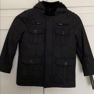 Little boys charcoal wool blend coat